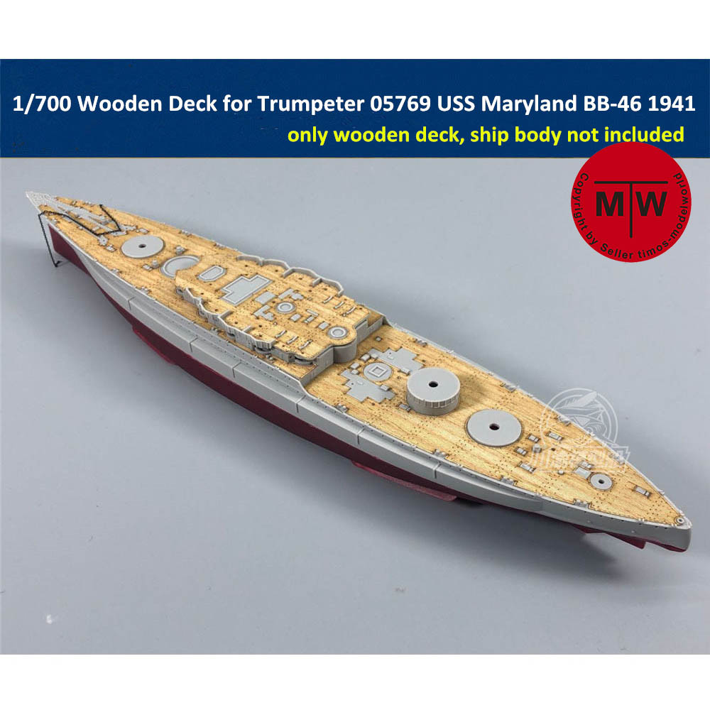 <font><b>1</b></font>/<font><b>700</b></font> <font><b>Scale</b></font> Wooden Deck for Trumpeter 05769 USS Maryland BB-46 1941 <font><b>Ship</b></font> <font><b>Model</b></font> TMW00018 image
