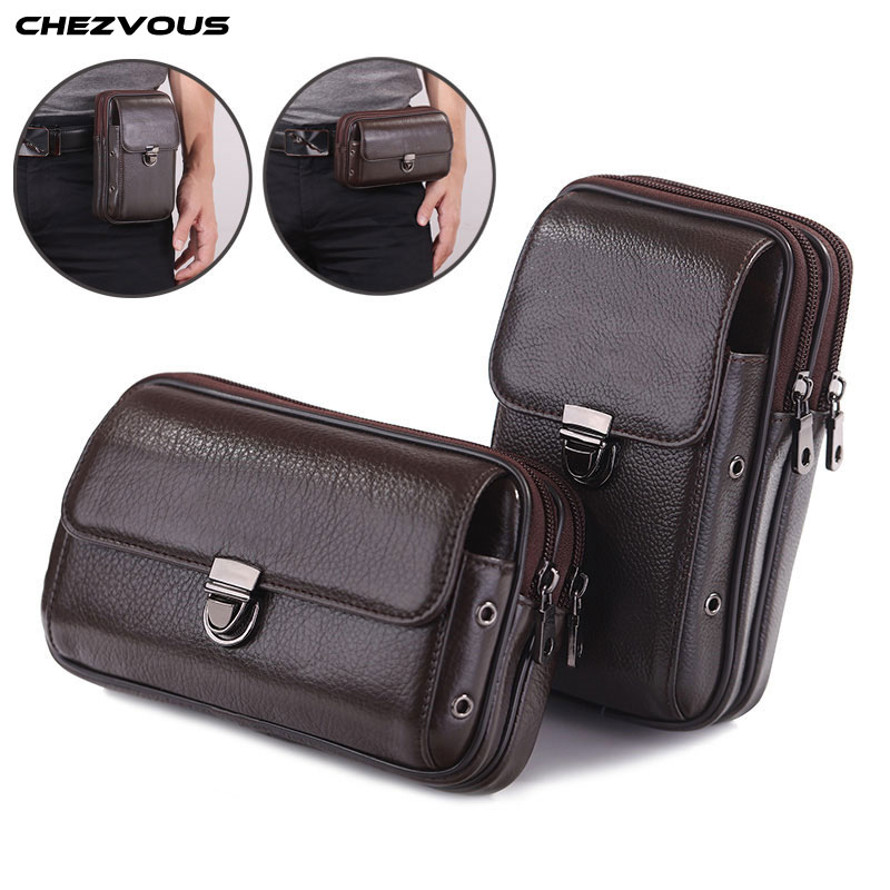 CHEZVOUS Belt Clip Leather Mobile Phone Bag Case For Samsung Galaxy S8 S9 plus s7 s6 edge s5 s4 J&A series Pouch Case 4.7~6.0''