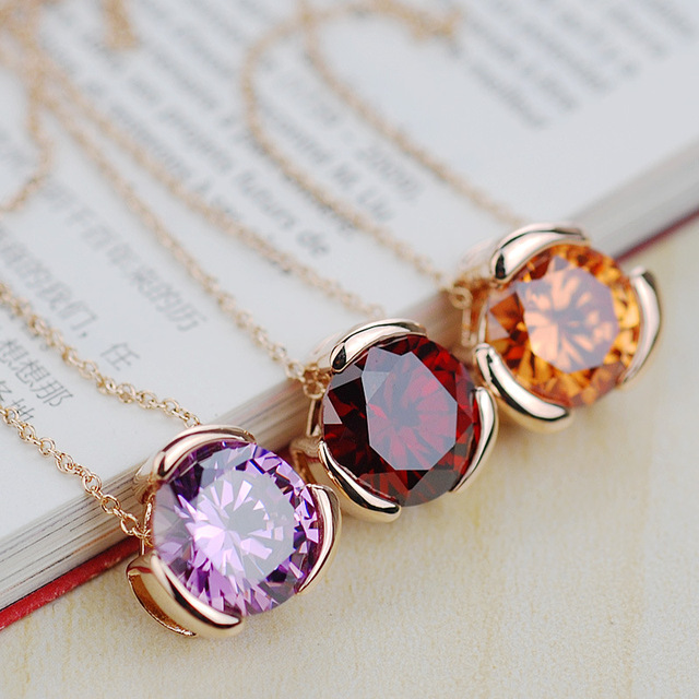 gold planted necklace all-match nature color red Crystal Amethyst Pendant Chain Korea style female Citrine jewelry clavicle