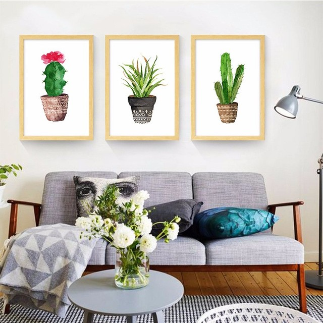 NEW Simple Cactus green plant Canvas Prints Cartoon Painting ...