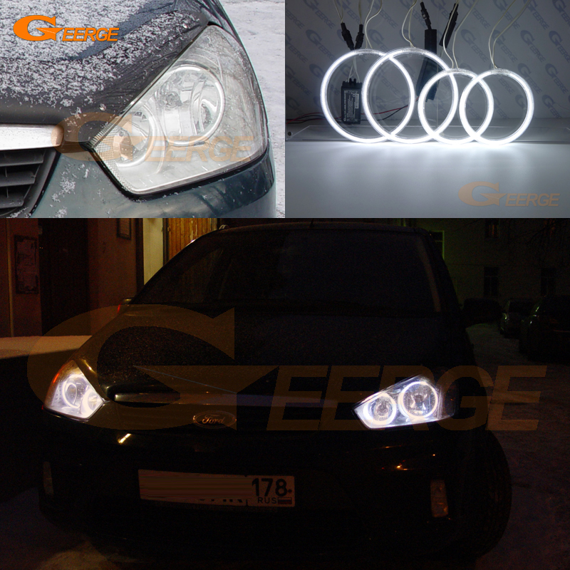 For Ford C-Max MkI 2008 2009 2010 Halogen headlight Excellent Angel Eyes Ultra bright illumination ccfl angel eyes kit Halo Ring купить недорого в Москве