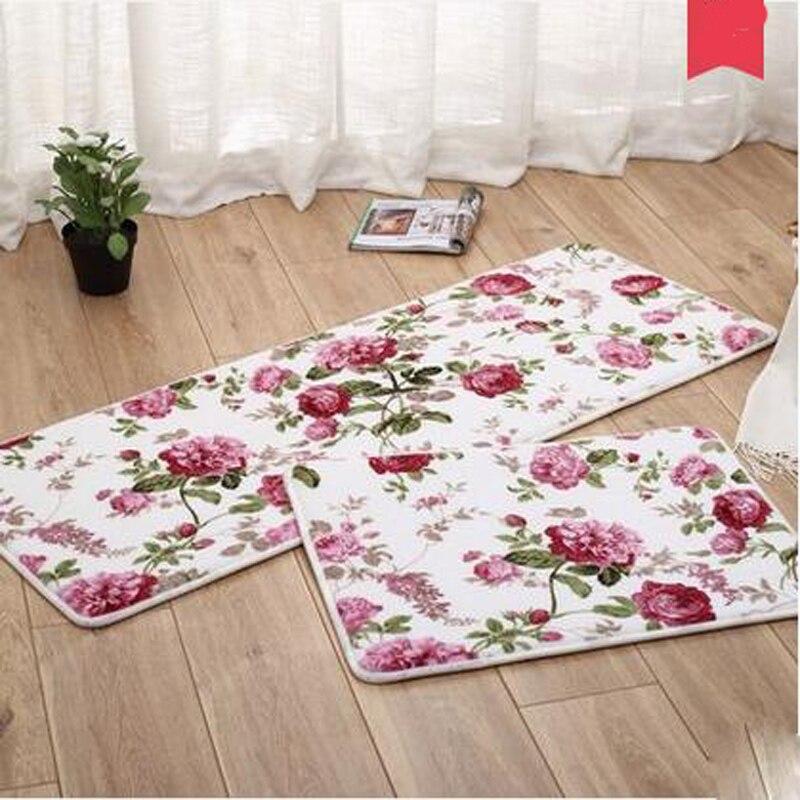 2pcs Set Bath Mat Absorbent Floor Living Room Kitchen Carpet Hallway Corridor Area