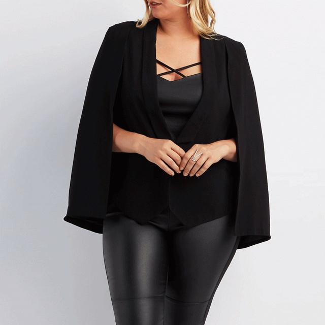 High Quality Fashion Autumn Split Long Sleeves Cloak Office Cape Blazer Classic  Plus Size Women Black Poncho Suit Jacket 5XL 6XL 41de958f6c3e