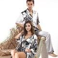 Qualidade superior dos homens de cetim Sleepwear seda verão estilo Casual casais Plus Size pijama de cetim Set pijama dos homens Plus Size XXXL