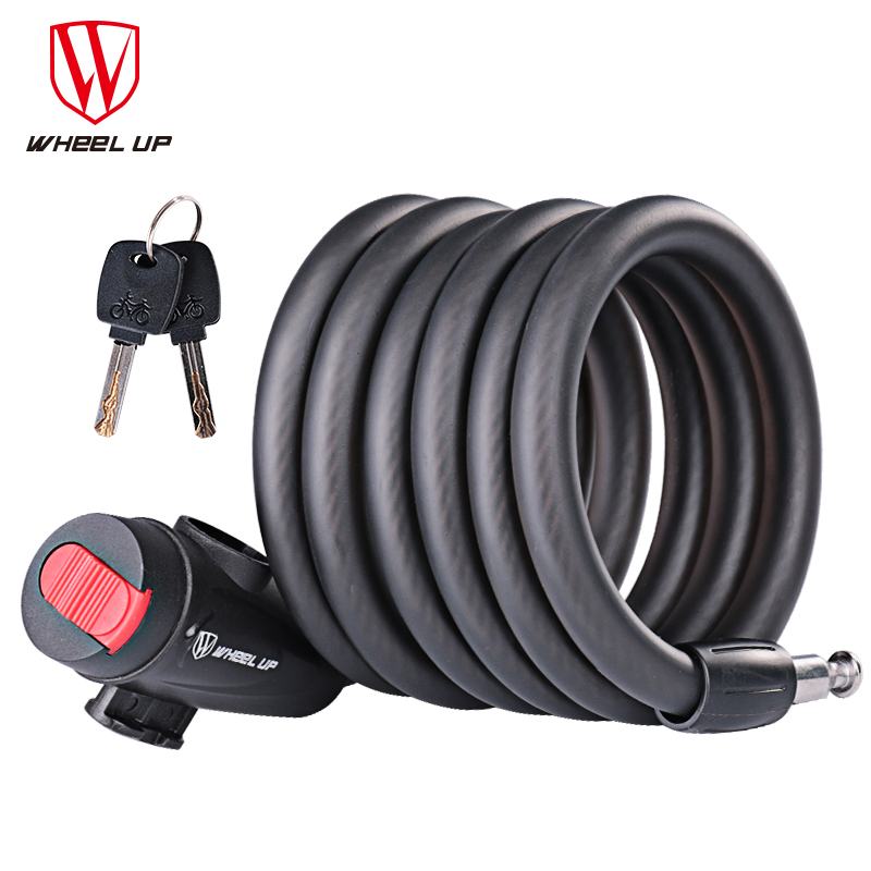 WHEEL UP 1.8m Anti Theft Bike Lock Bicycle Accessories Steel Wire Security Bicycle Cable Lock MTB Road Motorcycle Bike Equipment