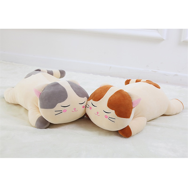 Plush Cartoon Cat Toys Soft Cute Pillow Super Soft Stuffed Animal Brown Gray Cat Dolls Best Gifts for Kids Friend Baby 46*12CM plush ocean creatures plush penguin doll cute stuffed sea simulative toys for soft baby kids birthdays gifts 32cm