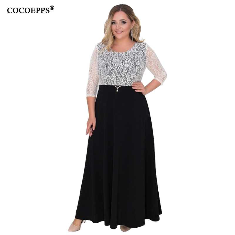 2019 Lace Patchwork 6xl Women Dress Big Size Elegant Maxi Dress Plus Size  Sexy Party Dress 16c3157ec4cd