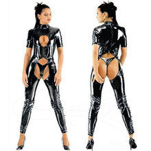 open Crotch catsuit faux latex jumpsuit with short sleeves zipper back,wetlook pvc leather overalls bodysuits party costume