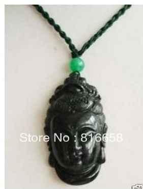 БЕСПЛАТНАЯ ДОСТАВКА >>>@@ S @ @ Superb черный нефрит резные головы будды кулон ожерелье