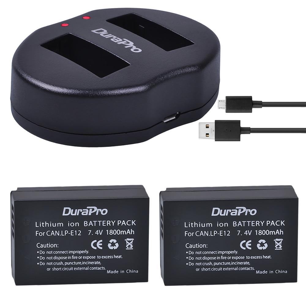 Durapro 2Pcs Lp-E12 Lpe12 Lp E12 Batteries + Usb Twin Charger For Canon M 100D Kiss X7 Insurgent Sl1 Eos M10 Dslr Digicam