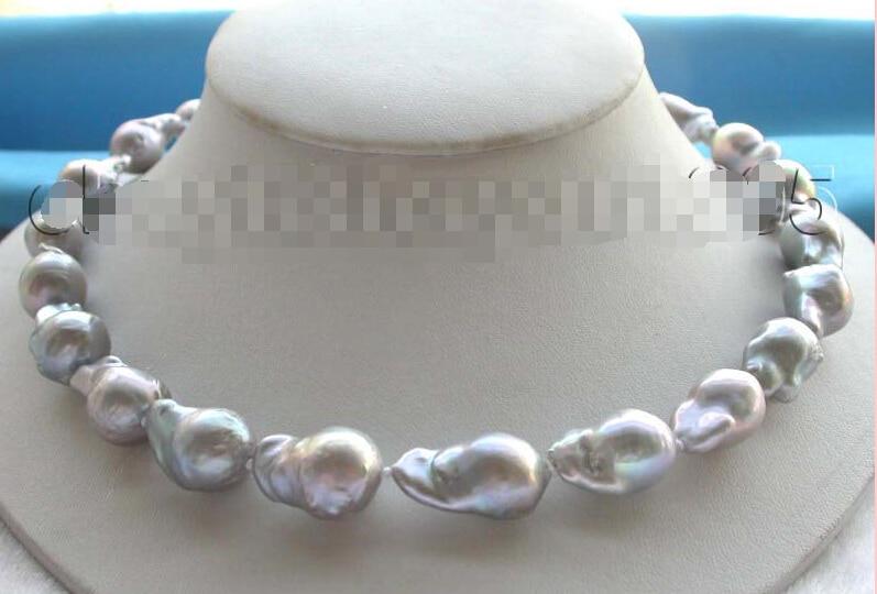 A 18 Genuine Natural 25mm Gray Reborn Keshi Pearl Necklace 14KGP printio ретро поп арт