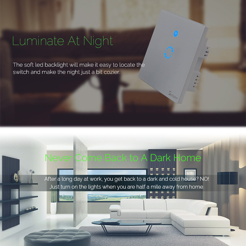 Sonoff T1 Wireless WiFi Wall Light Switch RF / APP / Touch Control Timer UK Panel Smart Home Automation with Nest/Alexa