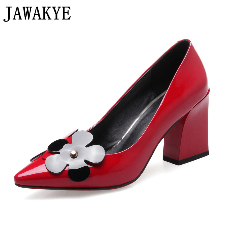 JAWAKYE Spring wedding Shoes Women red black patent leather high Heels flowers decor ladies Pumps shallow mouth zapatos mujer patent leather pumps shoes red black