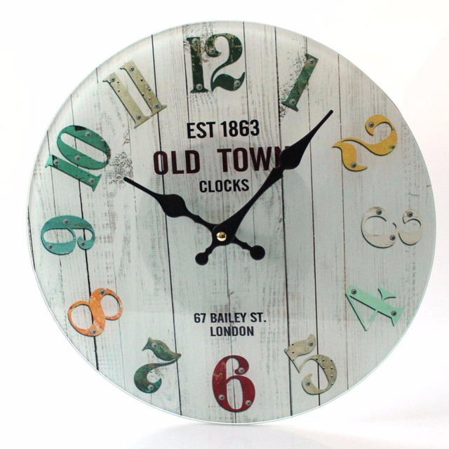 NEW 1PCS Round Wall Clock Vintage Modern He Bedro Retro Time ...