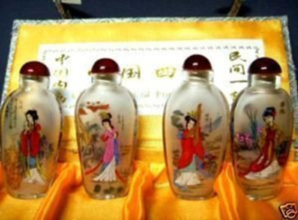 Exquisite Glass Hand-Painted Ancient China Four Beauties Snuff Bottles 4 PCS+a