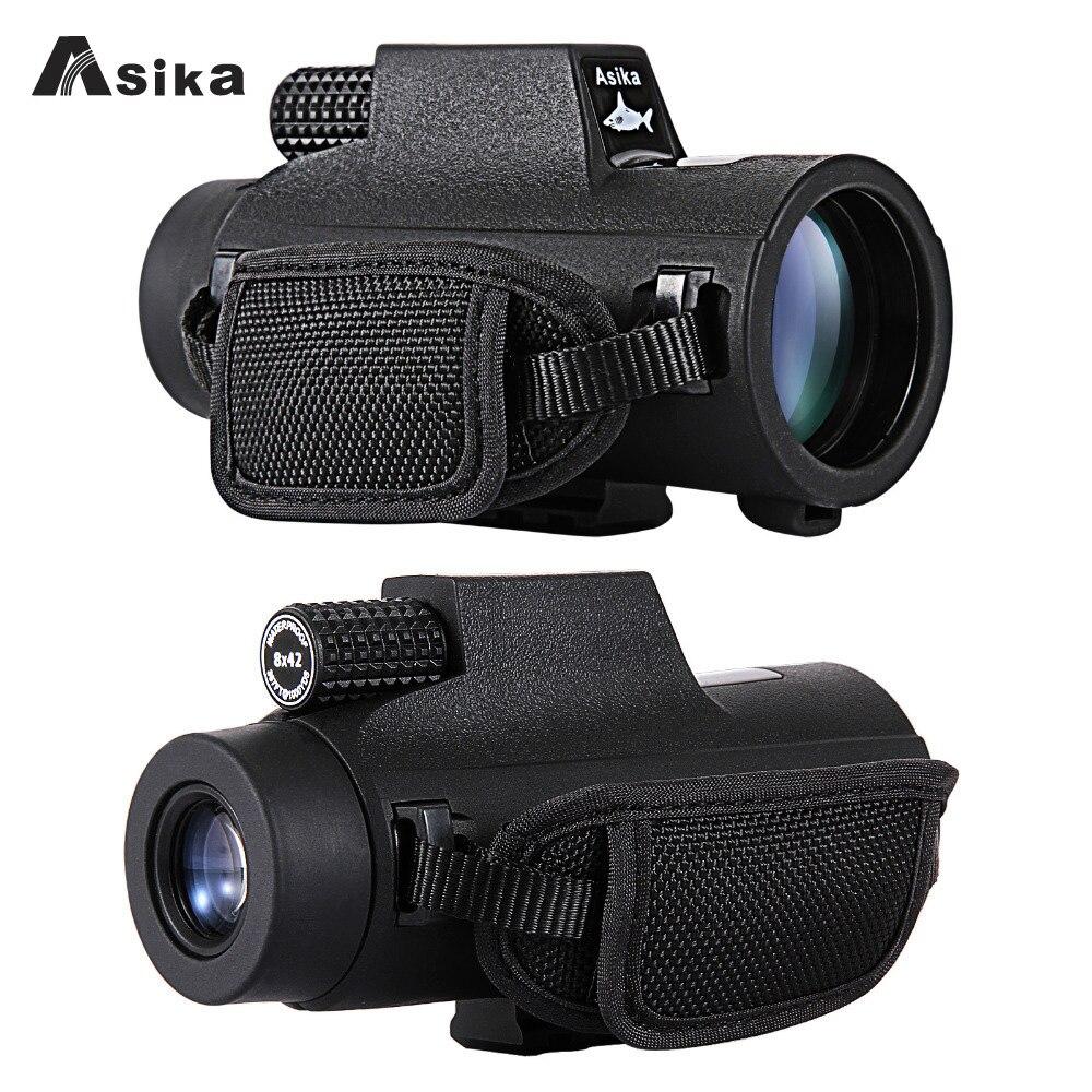 8/10x42 Asika Waterproof Monocular With Bak4 Prism Optics 22.6mm Large Eyepiece Telescope Camping Hunting Travel Spotting Scope-in Monocular/Binoculars from Sports & Entertainment