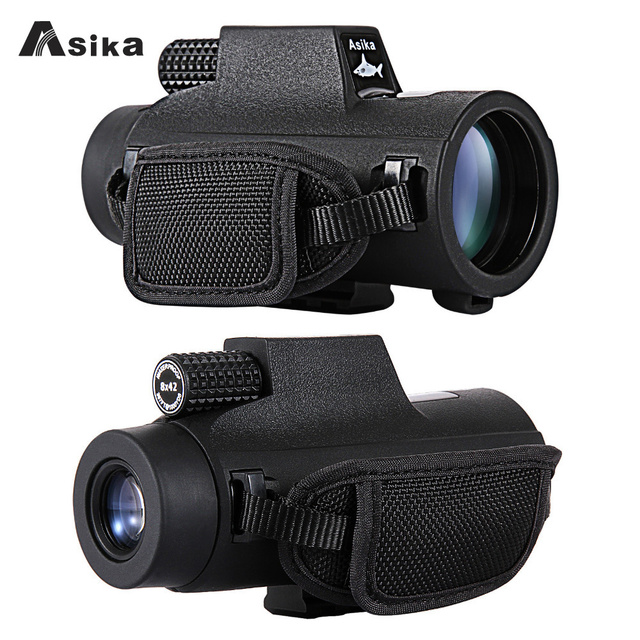 8/10x42 Asika Waterproof Monocular With Bak4 Prism Optics 22.6mm Large Eyepiece Telescope Camping Hunting Travel Spotting Scope