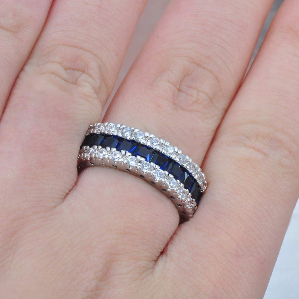 JUNXIN Fashion Men Women Blue Ring White Gold Filled Promise ...