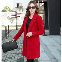 2018 Autumn Winter jacket women yellow overcoat wool coat suits plus size 5XL large big long black slim blend clothes outerwear