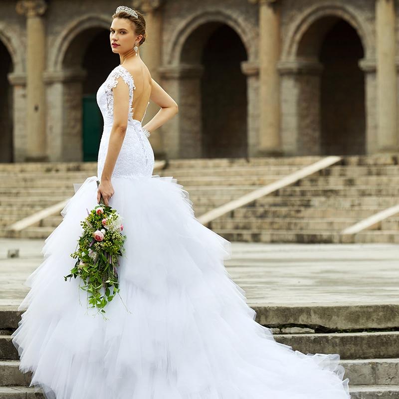 LAN TING BRIDE Trompeta de sirena Vestido de novia con cuello en V y - Vestidos de novia