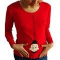 2015 nueva embarazada maternidad camisetas Casual ropa embarazo maternidad del bebé echar un vistazo ahueca hacia fuera de maternidad divertida camisetas 100% algodón