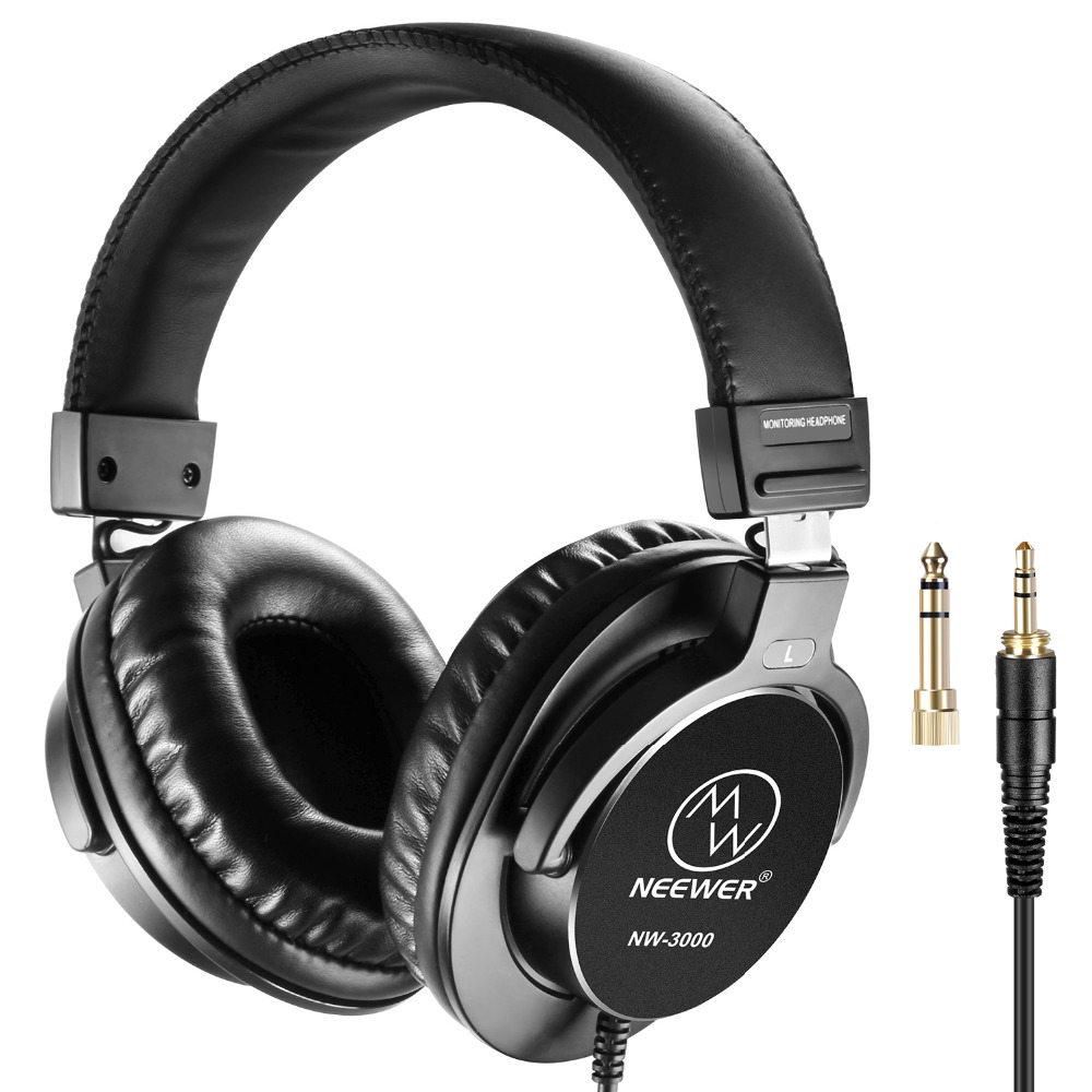 Neewer Closed Studio Headphones 10Hz-26kHz Dynamic Headsets 3 meters Cable 3.5mm+6.5mm Plugs For Music Recording image