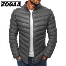 ZOGAA 2019 Causal Solid Zipper Parkas Men Jacket Winter Stand Neck Simple Wide-waisted Coat Puffer 10 Colors