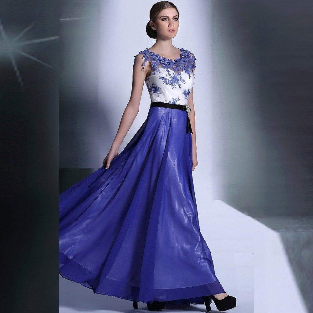 Púrpura elegante appliques encaje baile vestidos largos de manga ...