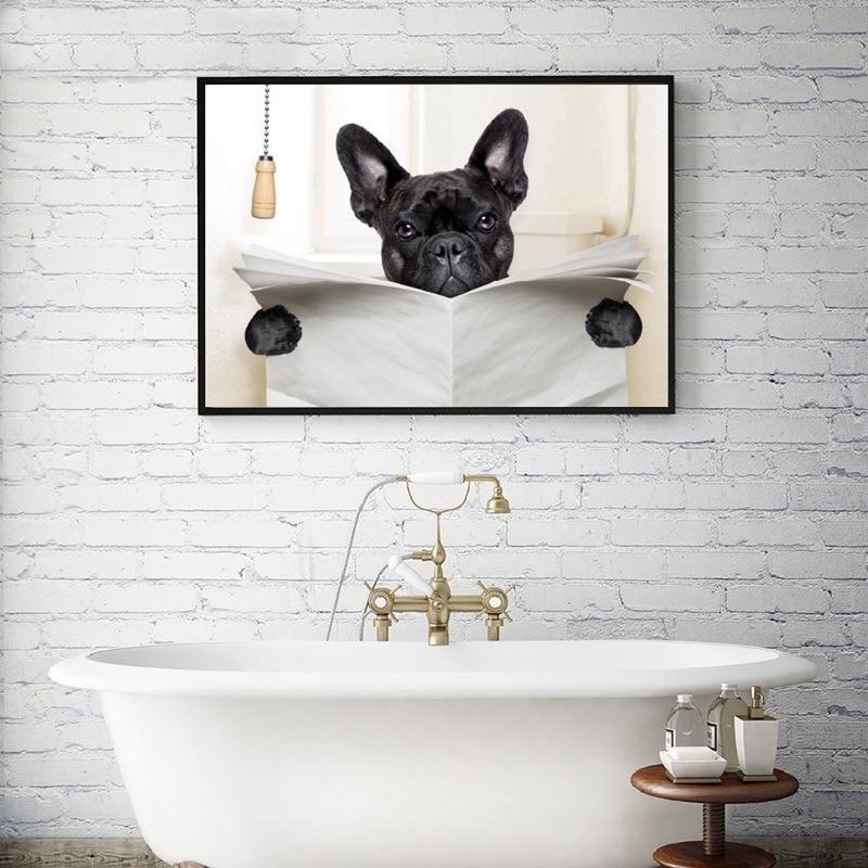 Dog Reading Newspaper Print Bathroom Decor