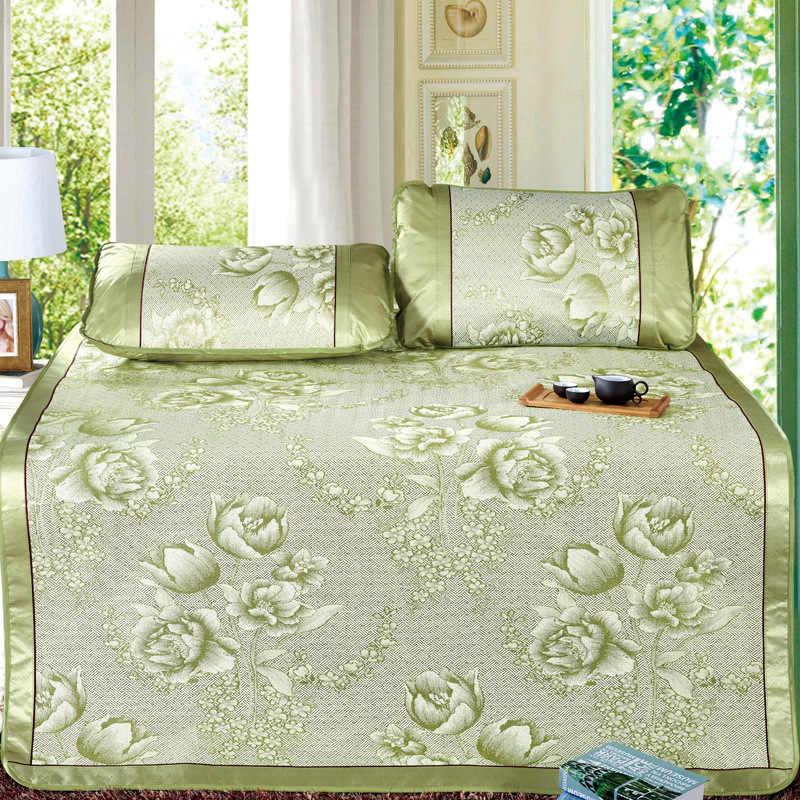 Летний жаккард с цветами Набор ковриков крутая кровать коврик супер король 200*220 см наматрасник простыня на резинке зеленый вискозное волокно спальный