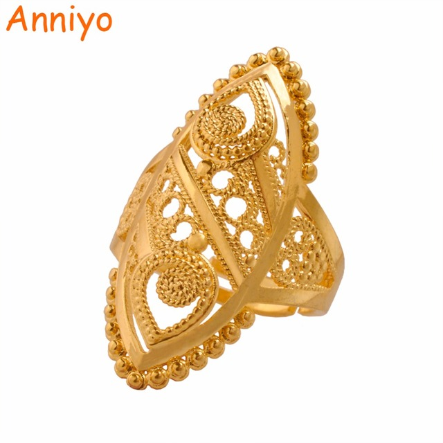 Anniyo Gold Color Ethiopian Wedding Ring Women,Arab Middle East Dubai Bride's Je