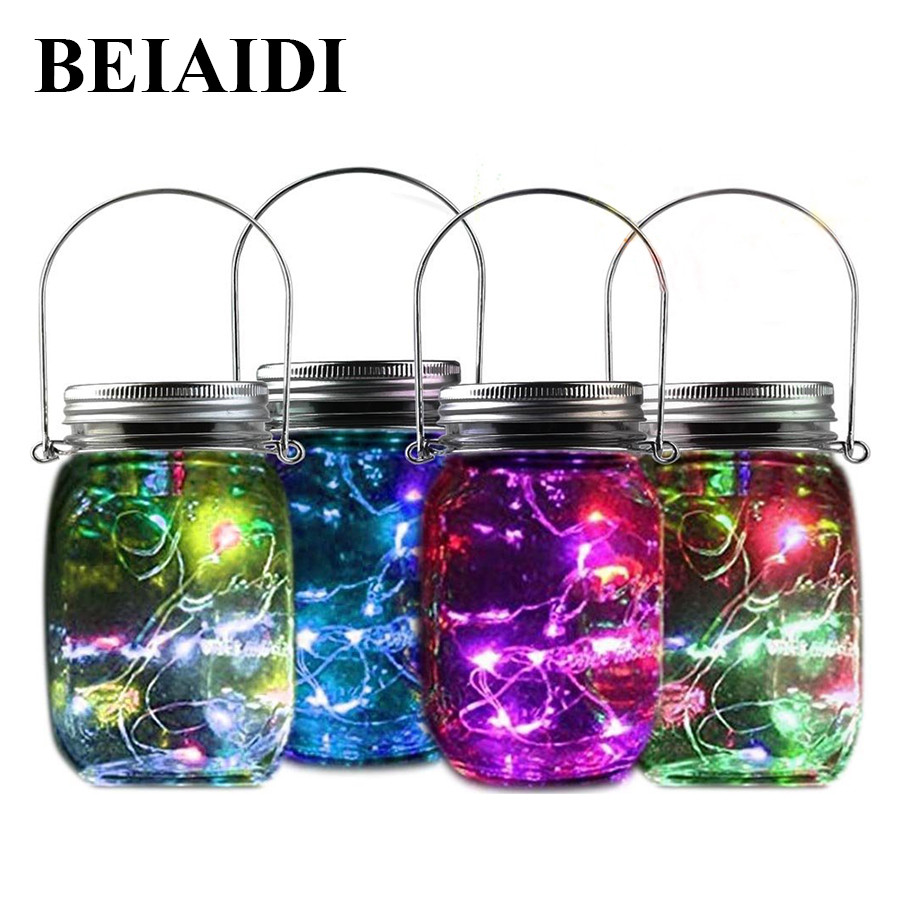 Beiaidi 4pcs Solar Mason Jar Lights With Mason Jar Lid