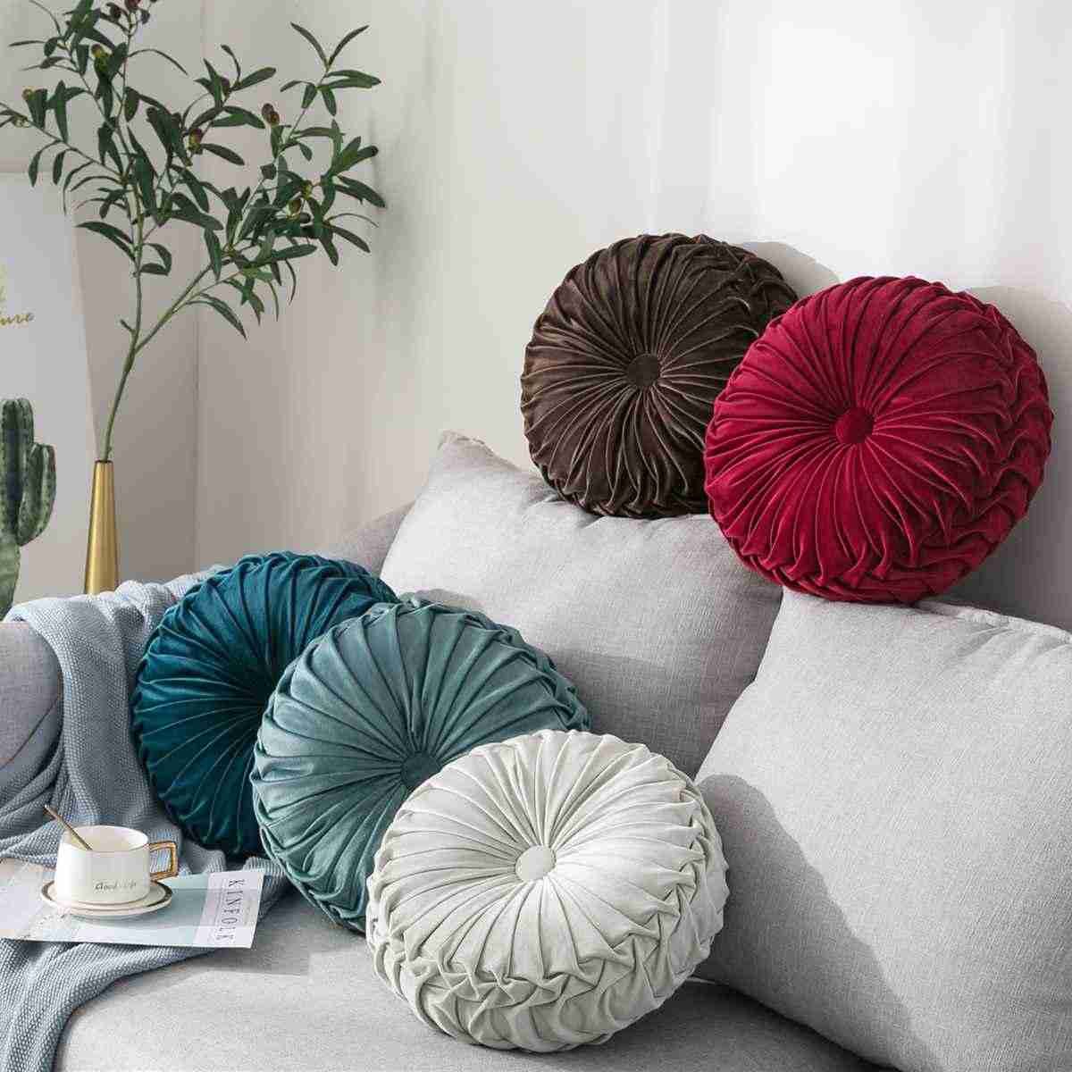 4 couleurs ronde en forme de coussin coussin siège lit canapé Pad Core velours tissu voiture dos coussin 35x8 cm maison chambre décoration