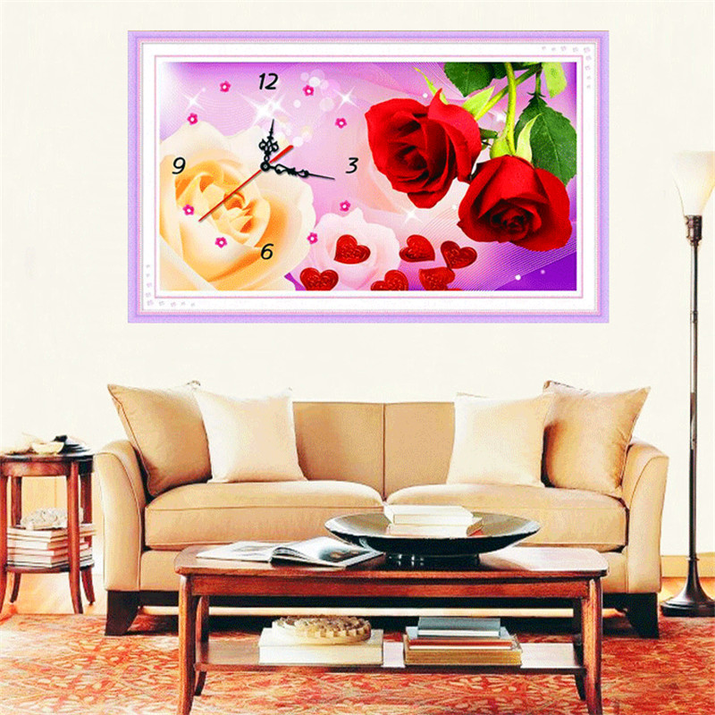 Diamond Painting Clock 5D Diamonds Embroidered Clocks Restaurant Simple Modern Living Room Stickers Diamond Cross Stitch Rose in Diamond Painting Cross Stitch from Home Garden