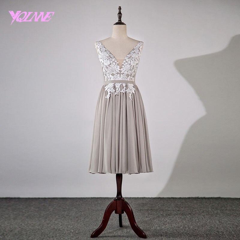 YQLNNE 2018 Short Prom Dresses Gray Chiffon Appliques Knee Length