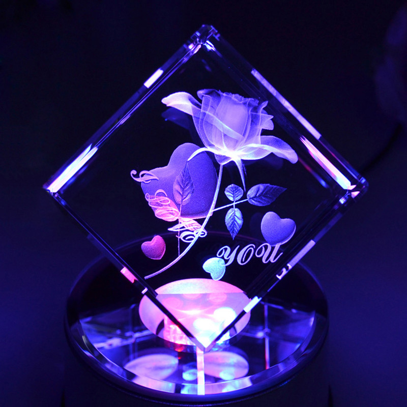 Handmade Lovely Rose 3D Laser Engraved Crystal Block Glass Led Engraving Cube With Rotary Music Base