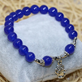 New fashion free shipping hot sale natural blue jade chalcedony women bracelet 8mm round beads jewelry making 7.5inch B2059
