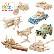 Hot selling Wooden 3D Aircraft Car Puzzles Wood Various Fighters Scale Models Set Children Puzzle toys DIY Airplane toy