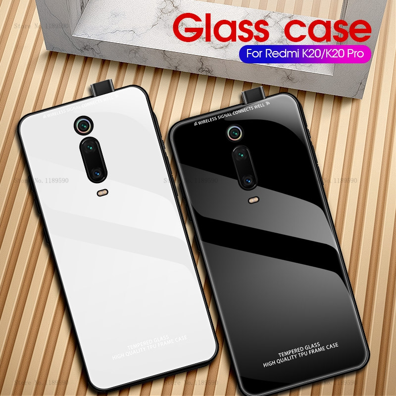 Luxury Hard Glass Case For Xiaomi Mi 9 SE Mi 9T Silicone TPU Back Coque Phone Cover Redmi K20 Pro 7 7A Note 7 Pro Mi9t Mi9 Case image