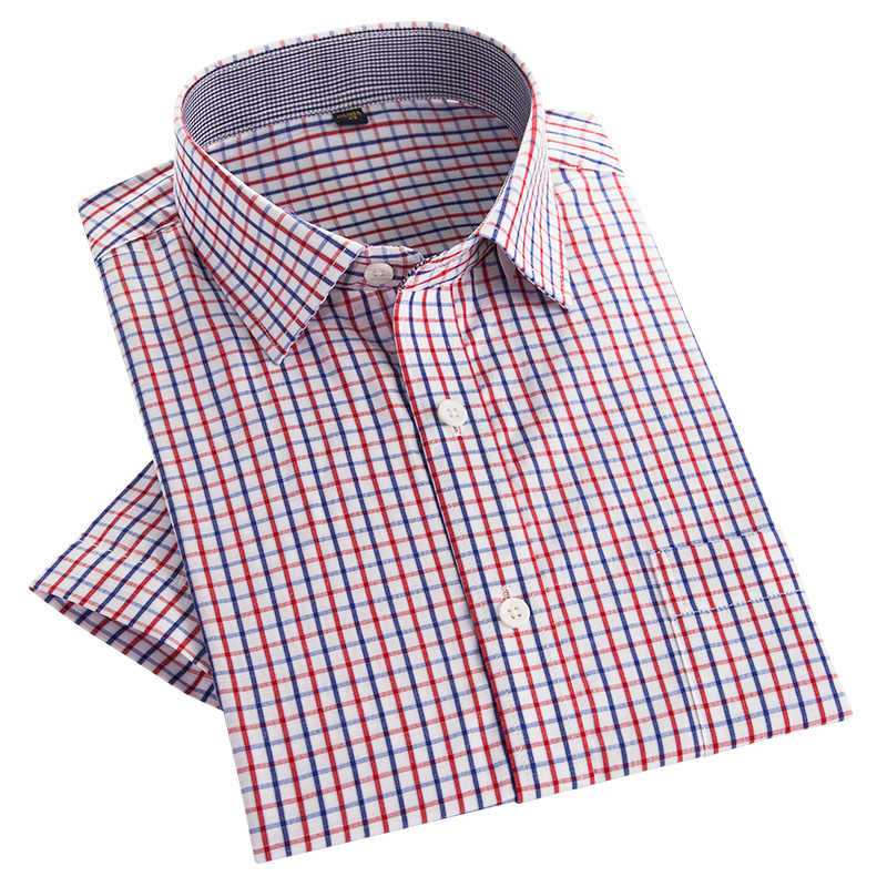 c5969d48 ... PaulJones Brand Quality Cheap Summer Mens Short Sleeve Shirts Plaid Pin  Checkered Youth Business Casual Social ...