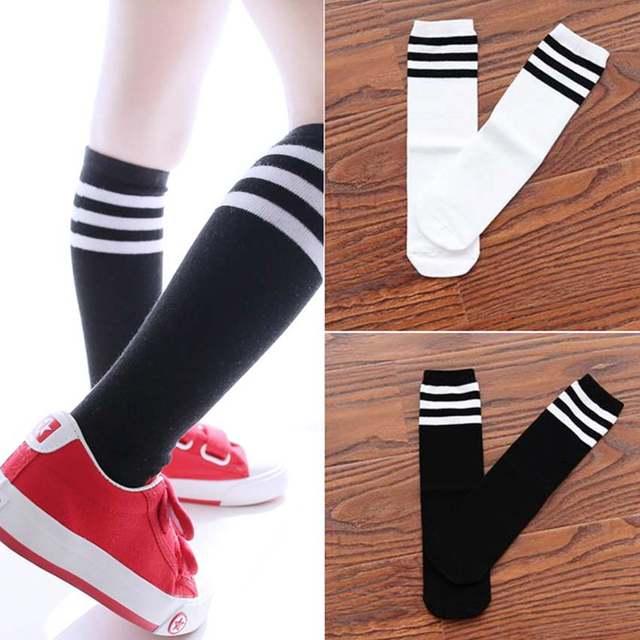9abb01039 placeholder Child Boy Football Socks Striped Colored Rainbow Knee Socks  Cotton School White Long Sock for Kids