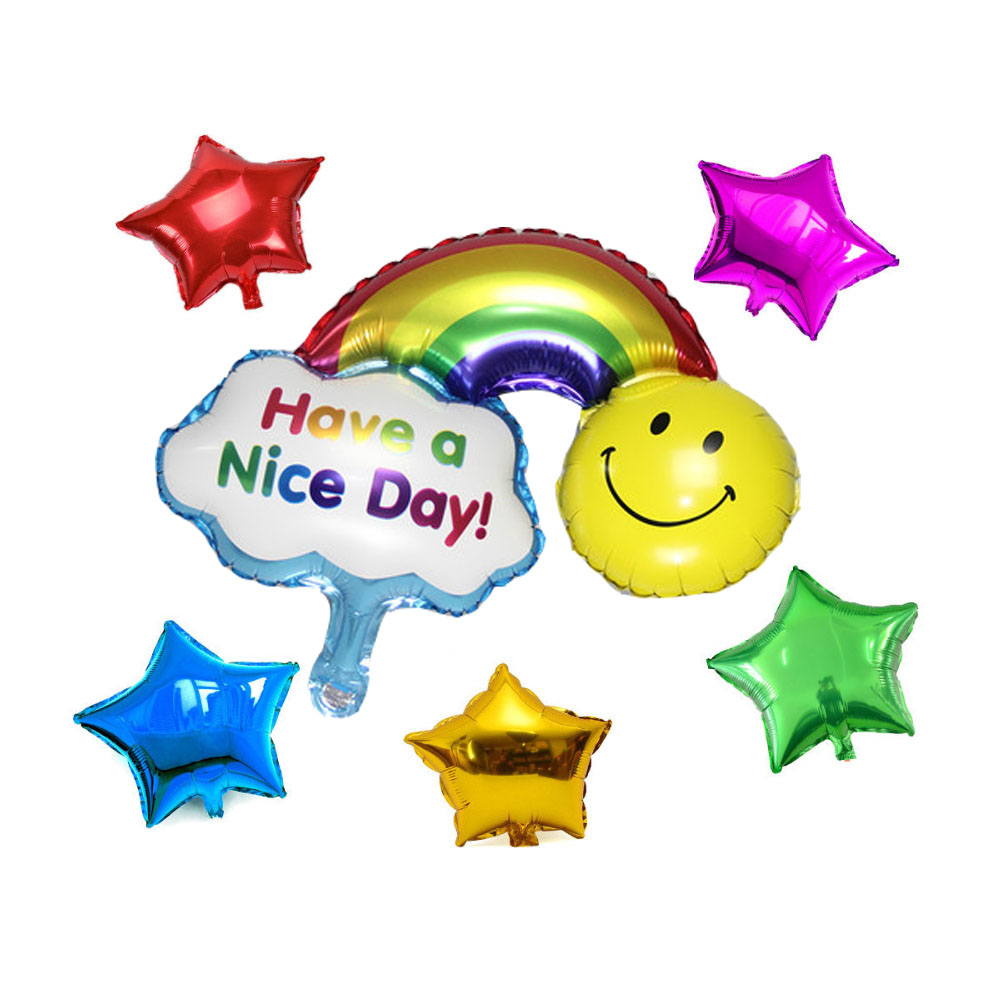 6pcs/lot big Smile Face Rainbow Foil Balloons star Helium Balloon Inflatable cla