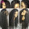 Malasia Virginal de la Peluca Llena Del Cordón rizado Peluca Rizada Del Cordón Del Pelo Humano pelucas del Cordón de la Rayita Natural Pelucas de pelo Humano Para Las Mujeres Negras
