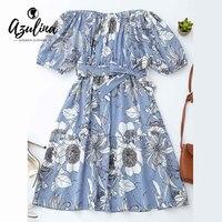 AZULINA Off Shoulder Floral Blue Striped Shirt Dress Women Short Sleeve Knee Length Summer Beach Dress