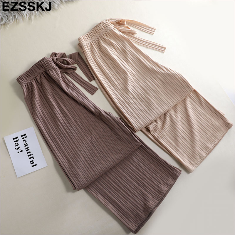 2019 summer casual chiffon straight   pants   for women female drawstring loose high waist   wide     leg     pants   solid elegant trousers