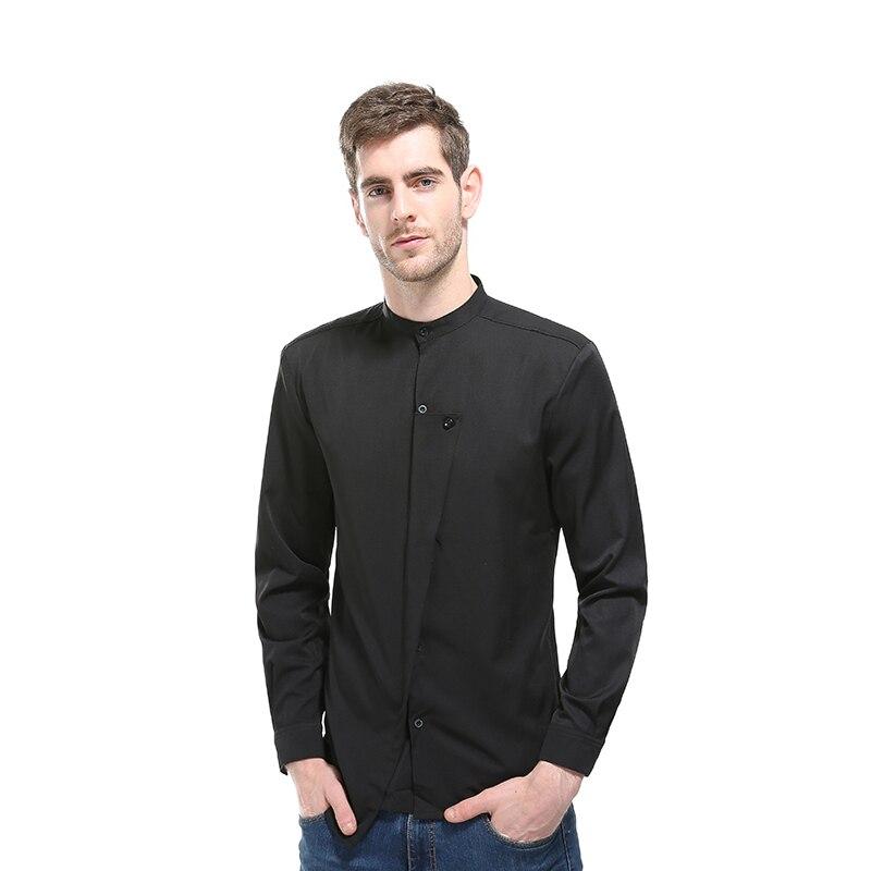 2017 Autumn Men Shirt Oblique Button Irregular Men Casual Shirt New Arrival Long Sleeve Casual Slim Fit Male Shirts z30