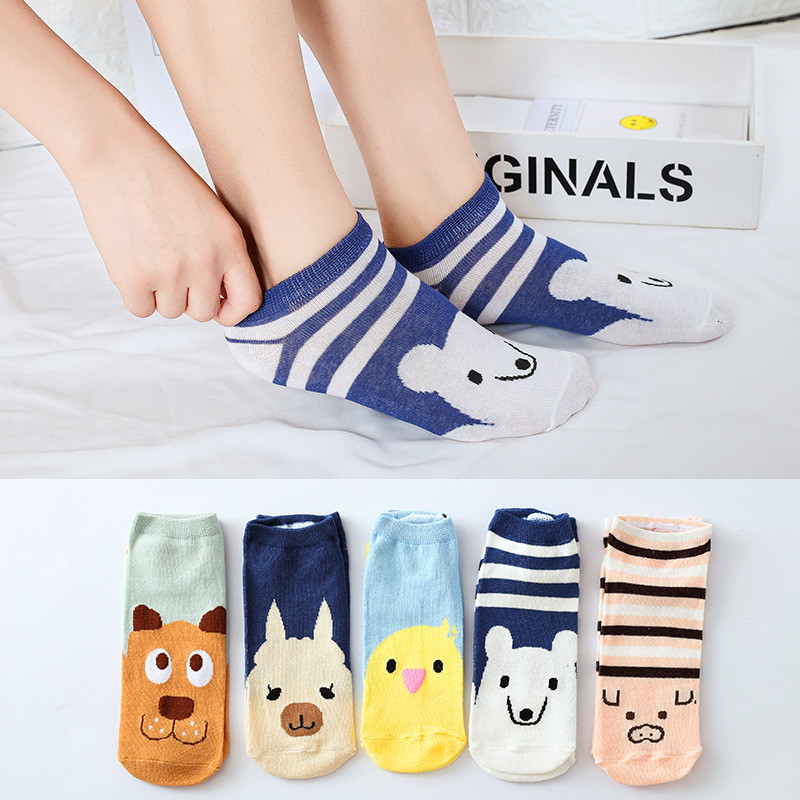 Womail Socks Women Cotton Short Women's Socks Trainer Sport Cushion Liner Smiley Cartoon Pictures Invisible Flowers MAY21