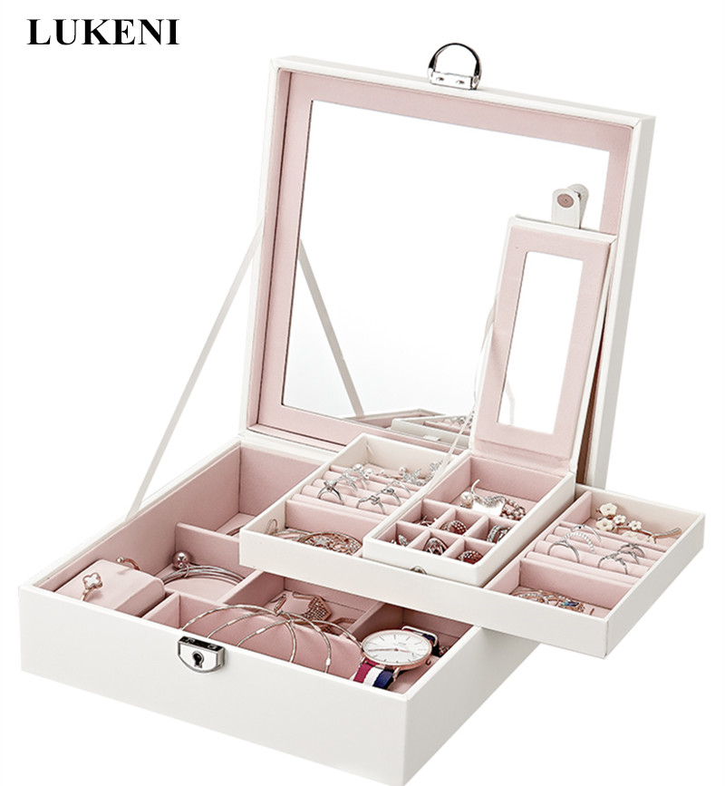 Fashion Design Luxury Leather Jewelry Display Carrying cases With Mirror Lovely Gift Princess Jewelry Storage Box Cosmetic Boxes