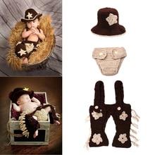 Nouveau-né Bébé Photographie Props Gentleman Cowboy À Tricoter Chapeau Mou Pantalon Ensemble Bébé Clothing Accessoires 0-4 Mois