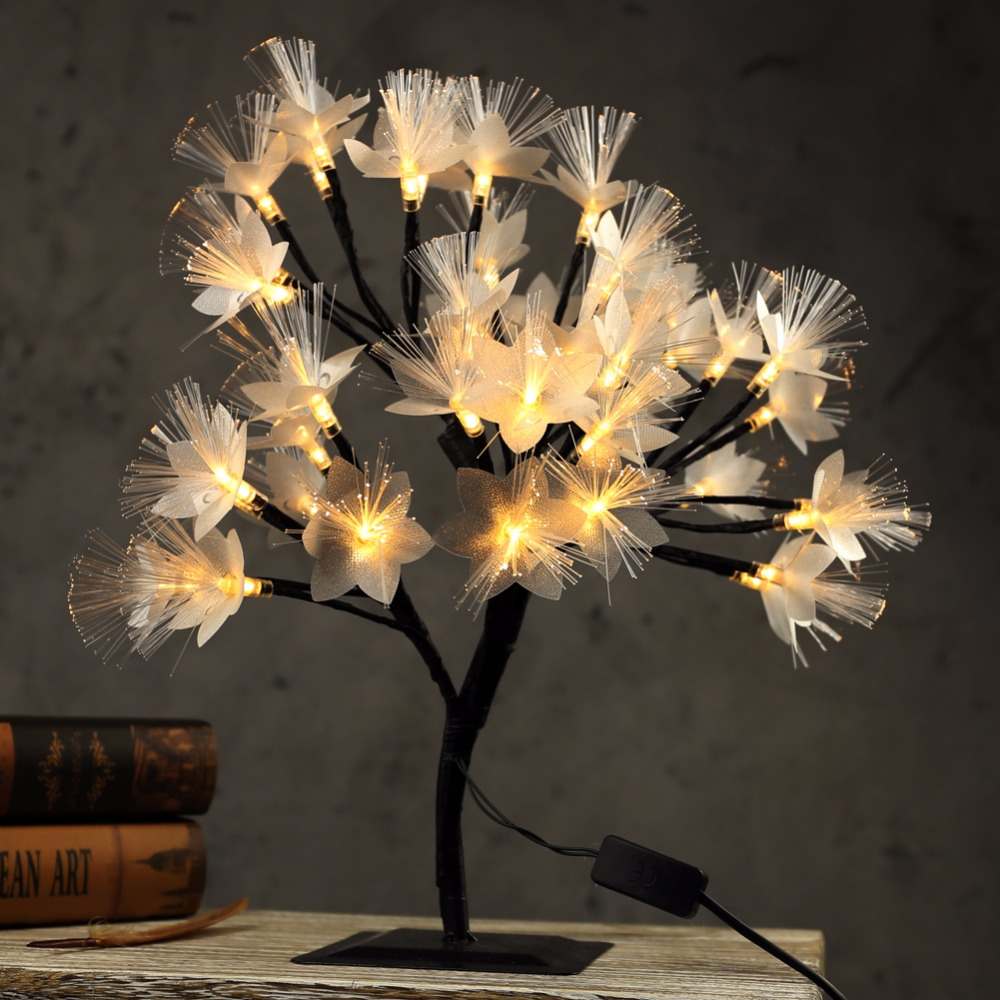 40cm LED Cherry Blossom Tree Light Table Lamp Luminaria Fiber Optic Night light for Home Wedding Bedroom Indoor Decoration led battery plum blossom flower tree night light adjustable waterproof atmosphere decorative lamp bedroom wedding holiday light